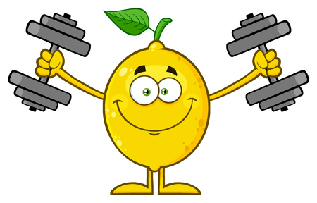 Smiling Yellow Lemon Fresh Fruit With Green Leaf Cartoon Mascot Character Working Out With Dumbbells. Illustration Isolated On White Background Stock Photo