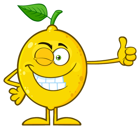 Winking Yellow Lemon Fresh Fruit With Green Leaf Cartoon Mascot Character Giving A Thumb Up. Illustration Isolated On White Background