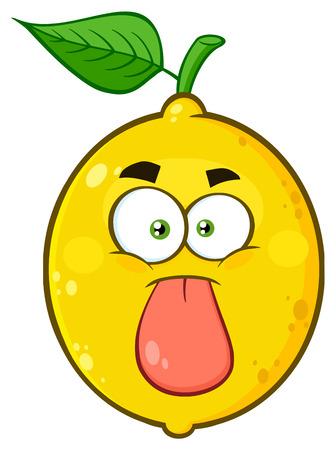 Funny Yellow Lemon Fruit Cartoon Emoji Face Character Stuck Out Tongue. Illustration Isolated On White Background