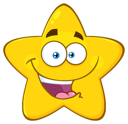 Happy Yellow Star Cartoon Emoji Face Character With Expression. Illustration Isolated On White Background