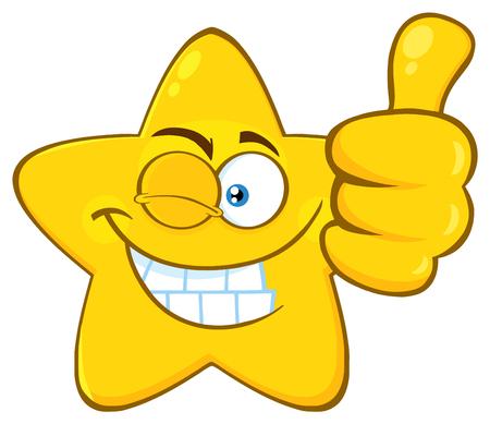 Glimlachend geel Star Cartoon Emoji gezicht karakter met knipoog expressie geven een duim omhoog. Illustratie op witte achtergrond wordt geïsoleerd die Stockfoto