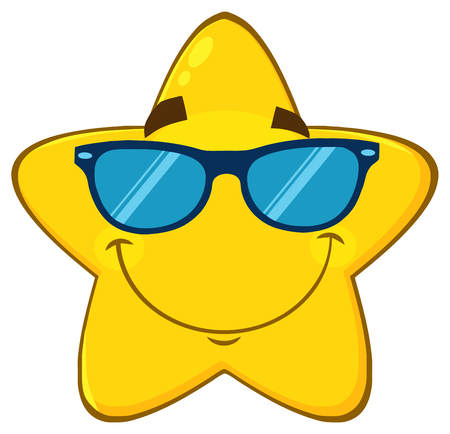 Smiling Yellow Star Cartoon Emoji Face Character With Sunglasses. Illustration Isolated On White Background