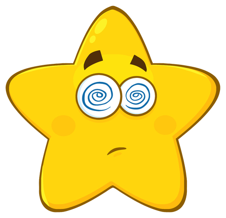 hypnotized: Dazed Yellow Star Cartoon Emoji Face Character With Hypnotized Expression.  Illustration Isolated On White Background