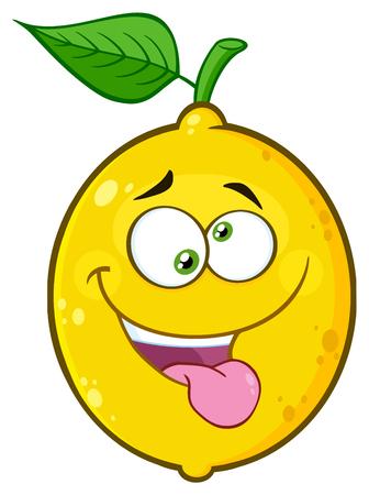 マッド イエロー レモン フルーツ漫画クレイジー式と突出舌絵文字顔文字。白い背景で隔離の図