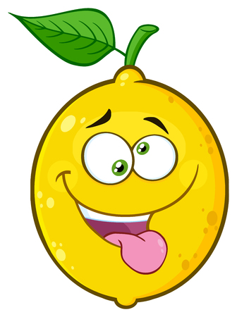 Mad Yellow Lemon Fruit Cartoon Emoji Face Character With Crazy Expression And Protruding Tongue. Illustration Isolated On White Background Reklamní fotografie