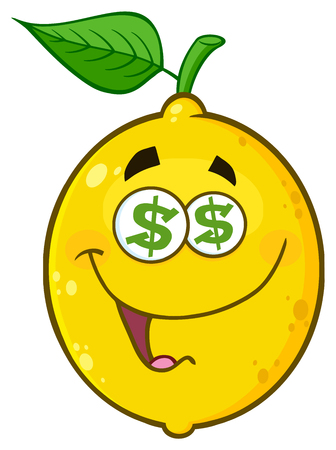 Funny Yellow Lemon Fruit Cartoon Emoji Face Character With Dollar Eyes And Smiling Expression. Illustration Isolated On White Background Stock Photo