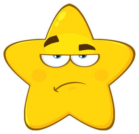 Grumpy Yellow Star Cartoon Emoji Face Character With Sadness Expression. Illustration Isolated On White Background