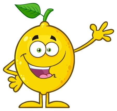 Geel citroen vers fruit met groen blad Cartoon mascotte karakter zwaaien. Illustratie op witte achtergrond wordt geïsoleerd die