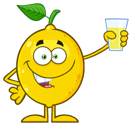 Yellow Lemon Fresh Fruit With Green Leaf Cartoon Mascot Character Presenting And Holding Up A Glass Of Lemonade. Illustration Isolated On White Background Stock Photo