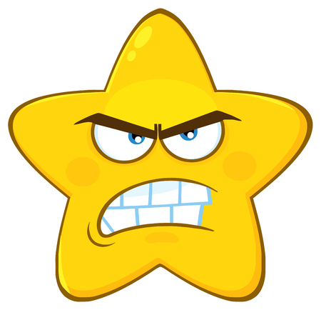 Angry Yellow Star Cartoon Emoji Face Character With Aggressive Expressions. Illustration Isolated On White Background
