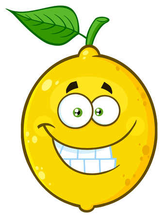 Smiling Yellow Lemon Fruit Cartoon Emoji Face Character With Funny Expression. Illustration Isolated On White Background