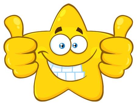 Glimlachend geel Star Cartoon Emoji Face Character geven twee duimen omhoog. Illustratie op witte achtergrond wordt geïsoleerd die