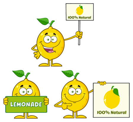lemon fruit: Yellow Lemon Fresh Fruit With Green Leaf Cartoon Mascot Character 3. Set Collection Isolated On White Background