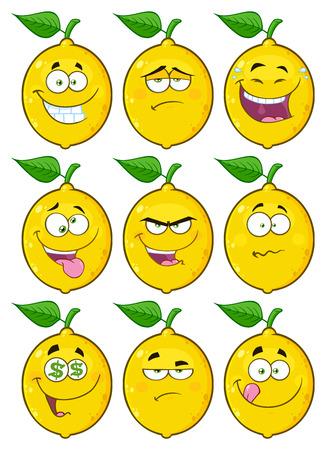 노란색 레몬 과일 이모티콘 얼굴 문자 집합 2. 흰색 배경에 고립 된 컬렉션