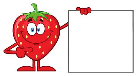 vitality: Smiling Strawberry Fruit Cartoon Mascot Character Pointing To A Blank Sign. Illustration Isolated On White Background Stock Photo