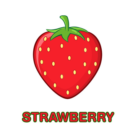 Strawberry Fruit Cartoon Drawing Simple Design. Illustration Isolated On White Background With Text Strawberry Stock Photo