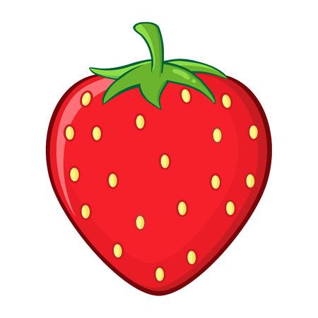 Strawberry Fruit Cartoon Drawing Simple Design. Illustration Isolated On White Background