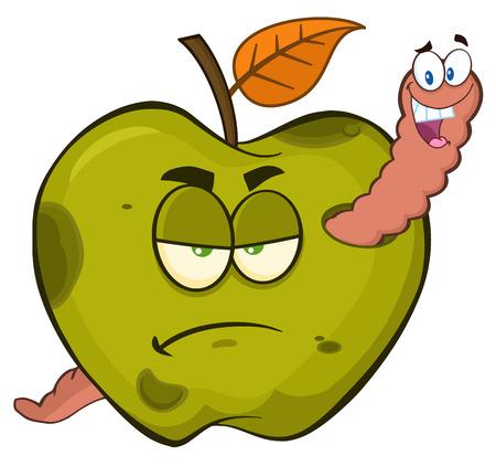 Happy Worm In een chagrijnig Rotte groene Apple Fruit Cartoon mascotte tekens. Illustratie op witte achtergrond wordt geïsoleerd die