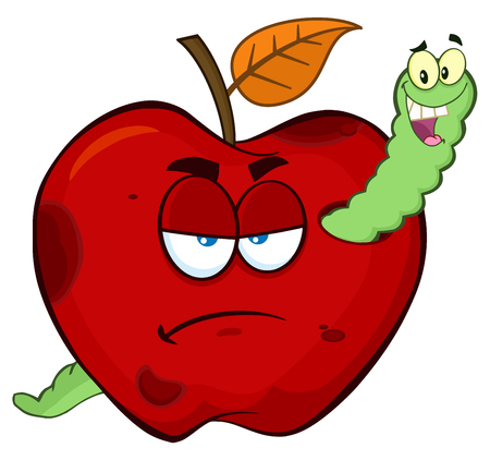 Happy Worm In A Grumpy Rotten Red Apple Fruit Cartoon Mascot Characters. Illustration Isolated On White Background
