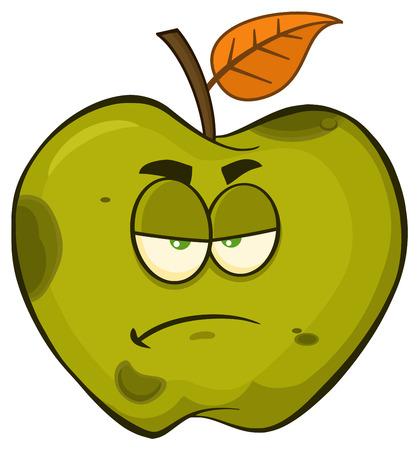 Grumpy Rotten Green Apple Fruit Cartoon Mascot Character. Illustration Isolated On White Background