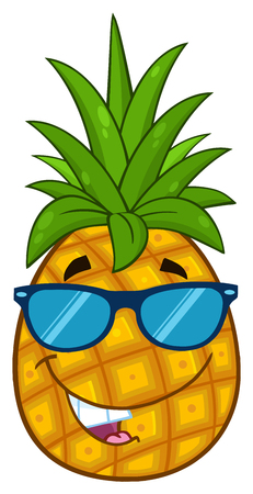 Smiling Pineapple Fruit With Green Leafs And Sunglasses Cartoon Mascot Character Design. Illustration Isolated On White Background Stock Photo