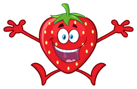 Happy Strawberry Fruit Cartoon Mascot Character With Open Arms Jumping. Illustration Isolated On White Background