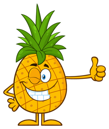 Winking Pineapple Fruit With Green Leafs Cartoon Mascot Character Giving A Thumb Up. Illustration Isolated On White Background Stock Photo