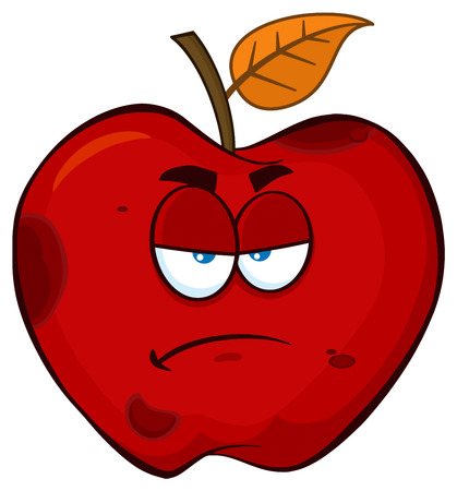 Grumpy Rotten Red Apple Fruit Cartoon Mascot Character. Illustration Isolated On White Background Stock Photo