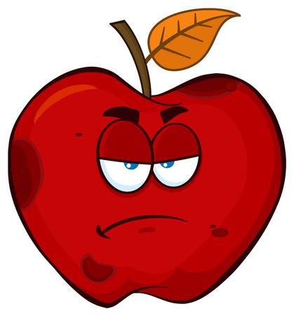 Grumpy Rotten Red Apple Fruit Cartoon Mascot Character. Illustration Isolated On White Background Stock Photo