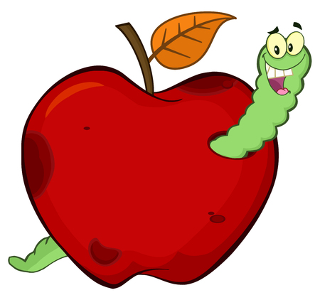 Happy Worm In A Rotten Red Apple Fruit Cartoon Mascot Character Design. Illustration Isolated On White Background