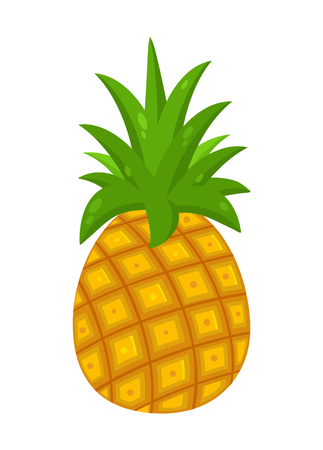 Pineapple Fruit With Green Leafs Drawing Flat Simple Design. Illustration Isolated On White Background