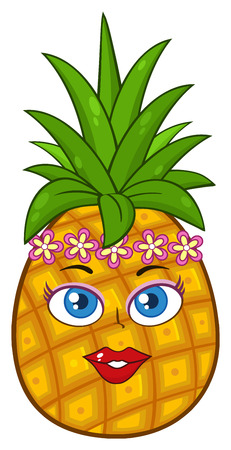 fruitage: Pineapple Fruit Cartoon Mascot Character Woman Face With Hawaiian Flower Lei Garland Wreath. Illustration Isolated On White Background Stock Photo