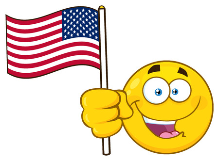 Patriotic Yellow Cartoon Emoji Face Character Waving An American Flag. Illustration Isolated On White Background Stock Photo