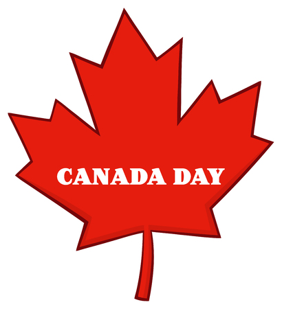 canadian flag: Canadian Red Maple Leaf Line Cartoon Drawing. Illustration Isolated On White Background With Text Canada Day
