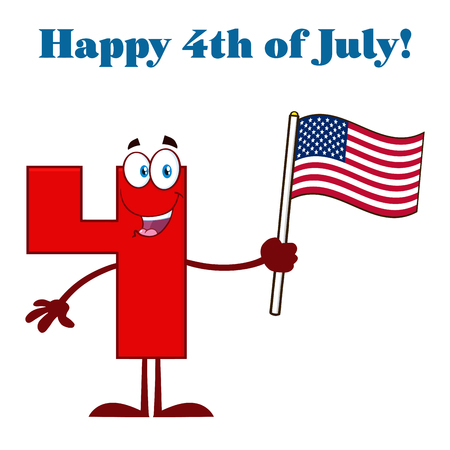 Red Number Four Cartoon Mascot Character Waving An American Flag. Illustration Isolated On White Background With Text Happy 4 Of July