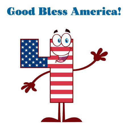 Patriotic Number Four In American Flag Cartoon Mascot Character Waving For Greeting. Illustration Isolated On White Background And Text Good Bless America Stock Photo