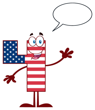 Happy Patriotic Number Four In American Flag Cartoon Mascot Character Waving For Greeting. Illustration Isolated On White Background With Speech Bubble