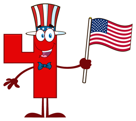 Patriotic Red Number Four Cartoon Mascot Character Wearing A USA Hat And Waving An American Flag.  Illustration Isolated On White Background
