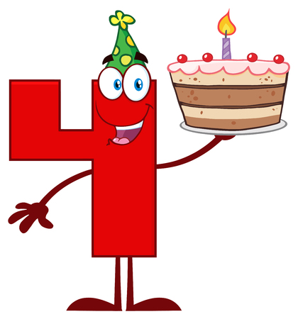 Funny Red Number Four Cartoon Mascot Character Holding Up A Birthday Cake. Illustration Isolated On White Background