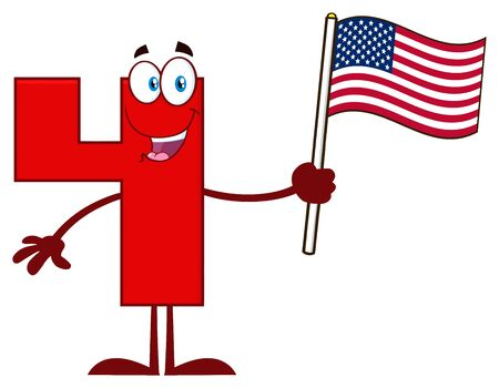 Smiling Red Number Four Cartoon Mascot Character Waving An American Flag. Illustration Isolated On White Background