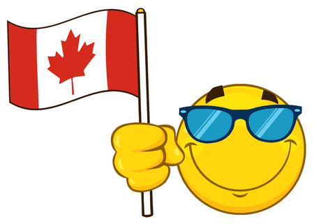 canadian flag: Patriotic Yellow Cartoon Emoji Face Character With Sunglasses Waving An Canadian Flag. Illustration Isolated On White Background Stock Photo