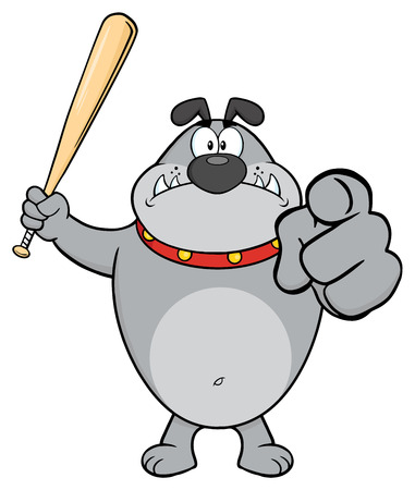Angry Gray Bulldog Cartoon Mascot Character Holding A Bat And Pointing. Illustration Isolated On White Background Stock Photo