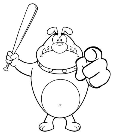 Personnage de mascotte en colère noir et blanc bouledogue tenant une chauve-souris et pointant. Illustration isolé sur fond blanc Banque d'images - 81720074