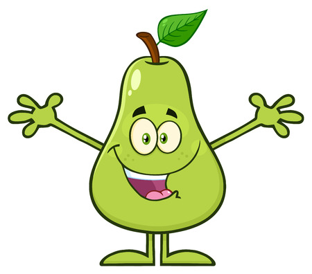 anthropomorphic: Happy Pear Fruit With Green Leaf Cartoon Mascot Character With Open Arms For Hugging. Illustration Isolated On White Background