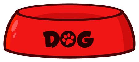 Red Dog Bowl Drawing Simple Design. Illustration Isolated On White Background Reklamní fotografie