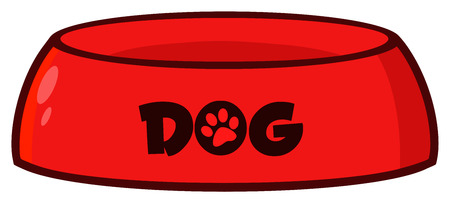Red Dog Bowl Drawing Simple Design. Illustration Isolated On White Background Stock Photo