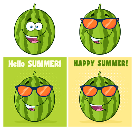 Green Watermelons Fruit Cartoon Mascot Character Set 2. Collection Isolated On White Background Stock Photo - 82444527