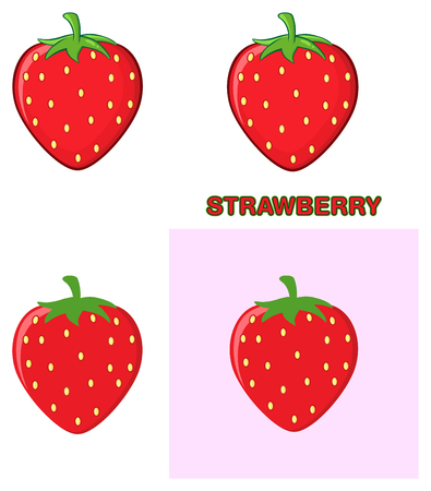 Strawberry Fruit Cartoon Drawing Design Set. Collection Isolated On White Background