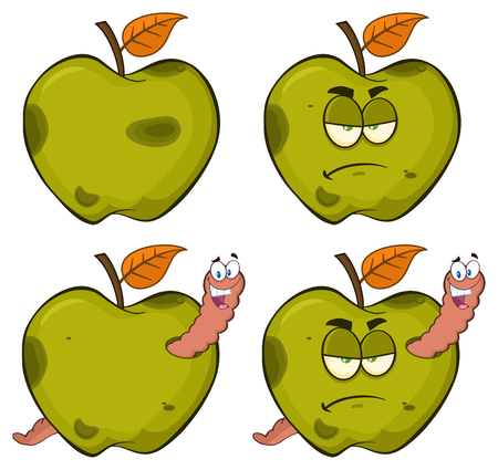 Happy Worm In A Grumpy Rotten Green Apple Fruit Cartoon Mascot Characters Series Set 2. Collection Isolated On White Background Stock Photo
