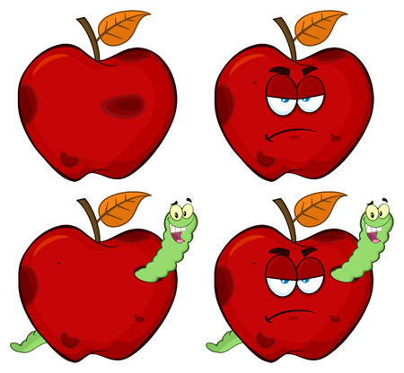Happy Worm In A Grumpy Rotten Red Apple Fruit Cartoon Mascot Characters Series Set 1. Collection Isolated On White Background